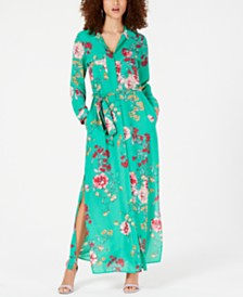 Lola Grace Juniors' Floral Maxi Shirtdress