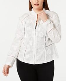 I.N.C. Plus Size Eyelash-Embroidered Jacket, Created for Macy's