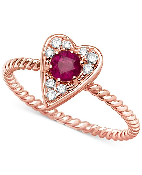 Macy's Certified Ruby (3/8 ct. t.w.) and Diamond (1/10 ct. t.w.) Heart Ring in 14k Rose Gold
