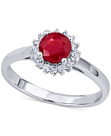 Ruby (3/4 ct. t.w.) & Diamond (1/5 ct. t.w.) Ring in 14k White Gold