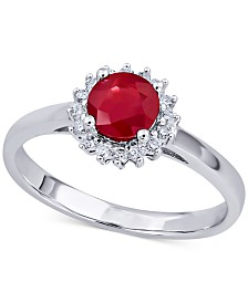 Ruby (3/4 ct. t.w.) & Diamond (1/5 ct. t.w.) Ring in 14k White Gold