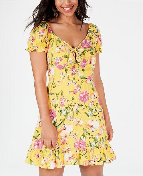 City Studios Juniors' Tie-Front Floral Ruffle Dress