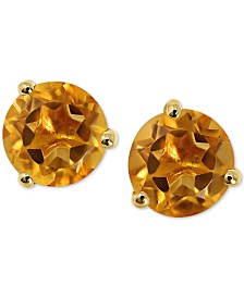 Gemstone Stud Earrings in 14k Yellow Gold