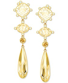 Swarovski Pavé & Colored Crystal Geometric Drop Earrings