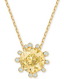 """Gold-Tone Crystal Round Pendant Necklace, 14-7/8"""" + 1"""" extender"""