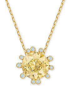 "Swarovski Gold-Tone Crystal Round Pendant Necklace, 14-7/8"" + 1"" extender"