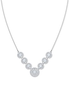 "Swarovski Silver-Tone Crystal 3D Cage Multi-Circle Statement Necklace, 14-4/5"" + 4"" extender"