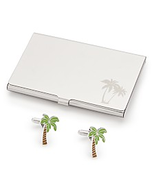 Novel Idea Men's Palm Tree Cuff Links & Card Case Set, Created for Macy's