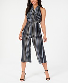 Almost Famous Juniors' Printed Halter Jumpsuit