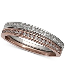 Giani Bernini 2-Pc. Set Cubic Zirconia Channel-Set Bands in Sterling Silver & 18k Rose Gold-Plated Sterling Silver, Created for Macy's