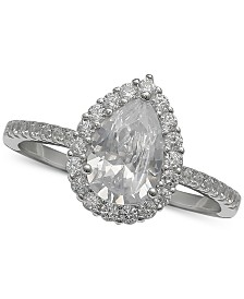 Giani Bernini Cubic Zirconia Pear Halo Ring in Sterling Silver, Created for Macy's