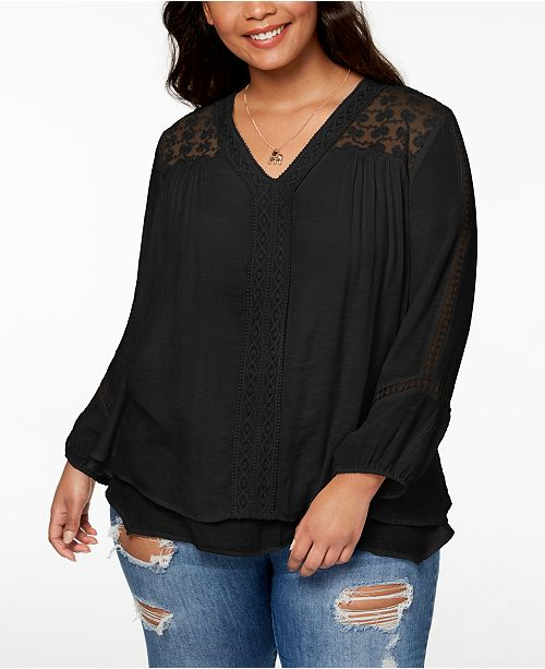 Style & Co Plus Size Layered-Hem Top, Created for Macy's