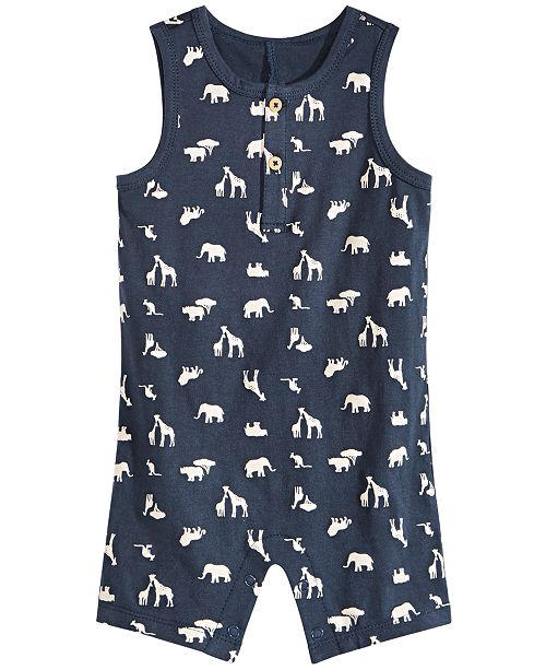 First Impressions Baby Boys Safari-Print Cotton Sunsuit, Created for Macy's