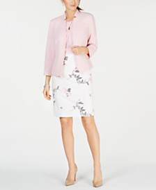 Kasper Notched Blazer, Crisscross Top & Embroidered Skirt