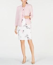Kasper Notched Blazer, Crisscross Top & Embroidered Skirt