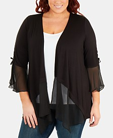 0cb7953ced1 NY Collection Plus Size Chiffon-Trimmed Bell-Sleeve Cardigan