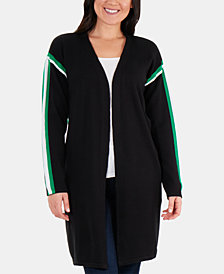 NY Collection Racer-Stripe Open-Front Cardigan