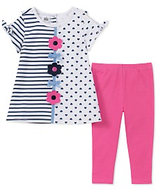Kids Headquarters Baby Girls 2-Pc. Printed Cold Shoulder Tunic & Leggings Set