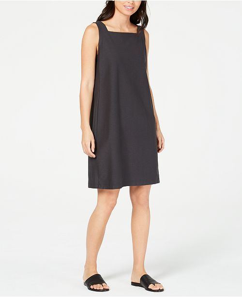Eileen Fisher Square-Neck Washable Crepe Shift Dress