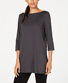 Eileen Fisher Boat-Neck Vented-Hem Top, Regular & Petite