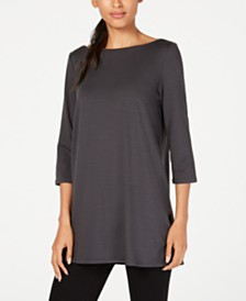 Eileen Fisher Boat-Neck Vented-Hem Tencel ™ Top, Regular & Petite