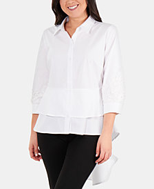 NY Collection Lace-Sleeve Peplum-High-Low Blouse