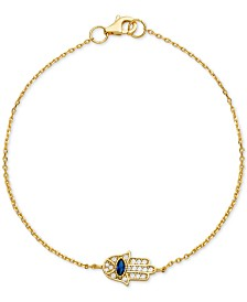 Cubic Zirconia Hamsa Hand Link Bracelet in 18k Gold-Plated Sterling Silver