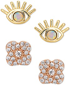 2-Pc. Set Imitation Opal & Cubic Zirconia Eye & Flower Stud Earrings in 18k Gold-Plate & 18k Rose Gold-Plate Sterling Silver