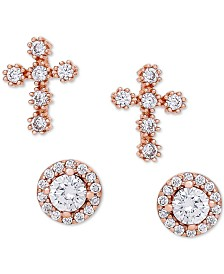 2-Pc. Set Cubic Zirconia Cross & Halo Stud Earrings in 18k Rose Gold-Plated Sterling Silver