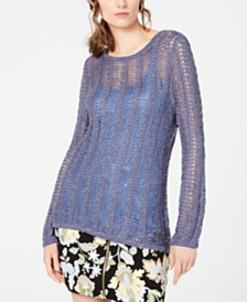I.N.C. Open-Knit Fitted Sweater, Created for Macy's
