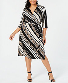 I.N.C. Plus Size Snake Print Faux-Wrap Midi Dress, Created for Macy's