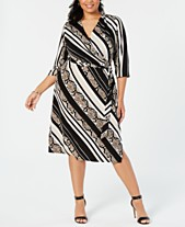 29008d1de8 I.N.C. Plus Size Snake Print Faux-Wrap Midi Dress