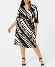 I.N.C. Plus Size Snake Print Faux-Wrap Midi Dress, Created for Macy's