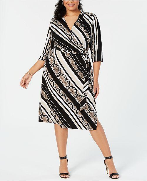 INC Plus Size Snake Print Faux-Wrap Midi Dress, Created for ...