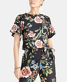 RACHEL Rachel Roy Carlie Flutter-Sleeve Cropped Top, Created for Macy's