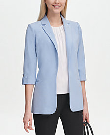 Calvin Klein Petite Single-Button Roll-Tab Blazer