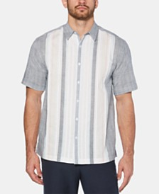 Cubavera Men's Yarn-Dyed Stripe Pintucked Panel Linen Shirt