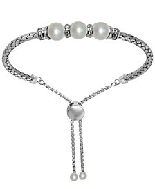Freshwater Pearl (7.5-8mm) & Cubic Zirconia Bolo Bracelet in Sterling Silver
