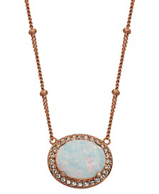 "18K Rose Gold over Sterling Silver with Oval Lab Created Opal and Cubic Zirconia 18"" Necklace"