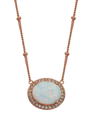 18K Rose Gold over Sterling Silver with Oval Lab Created Opal and Cubic Zirconia 18
