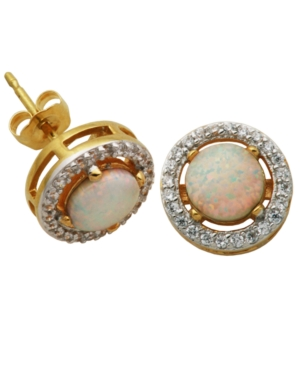 18K Gold over Sterling Silver with Lab Created Opal and Cubic Zirconia Round Stud Earrings