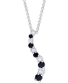 "Black Sapphire (5/8 ct. t.w.) & White Topaz (1/3 ct. t.w.) Journey 18"" Pendant Necklace in Sterling Silver"