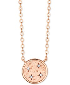 "Unwritten Crystal Disc Pendant Necklace in Rose Gold-Flash Plated Sterling Silver, 16"" + 2"" extender"