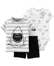 Carter's Baby Boys 3-Pc. Shark Graphic Cotton T-Shirt, Bodysuit & Shorts Set