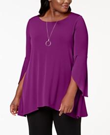 Alfani Plus Size Tulip-Sleeve Swing Top, Created for Macy's