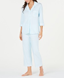 Miss Elaine Cottonessa Knit Notch Collar Top and Cropped Pajama Pants Set
