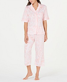 Paisley-Print Short-Sleeve Top and Cropped Pajama Pants Set
