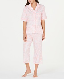 Miss Elaine Paisley-Print Short-Sleeve Top and Cropped Pajama Pants Set