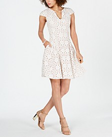 Lasercut Mesh-Inset Dress