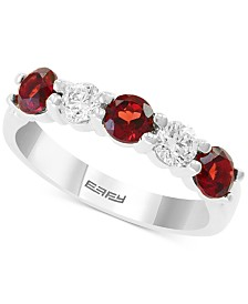EFFY® Rhodolite Garnet (7/8 ct. t.w.) & White Sapphire (5/8 ct. t.w.) Ring in 14k White Gold